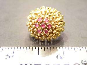 ANTIQUE ESTATE JEWELRY 18 KT GOLD RING WITH RUBIES