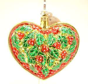 Christopher Radko Ornament   HOLLY HEART   New!