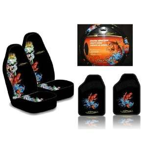 Ed Hardy Koi Fish Seat Covers, Floor Mats, Steering Wheel Cover