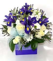 New Baby Boy Flowers   Blue white and cream flower arrangement to