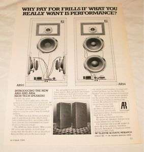 AR Acoustic Research AR93 AR94 Speakers PRINT AD