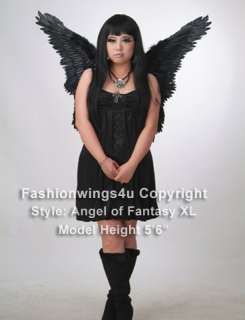 Black costume feather angel wings goth nymph butterfly macaw dark