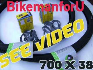 700 x 38 Bicycle Bike 2 Tire 2 Tube 2 Rim Strip 700x38