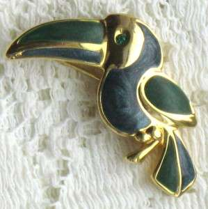 GOLDTONE GREEN BLUE ENAMELTOUCAN BIRD BROOCH PIN RHINESTONE EYE