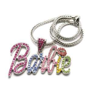 Iced Out Large Silver with Multicolors Barbie Nicki Minaj Pendant with