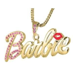 Nicki Minaj Barbie Gold Tone Pink Crystal Pendant Charm 24