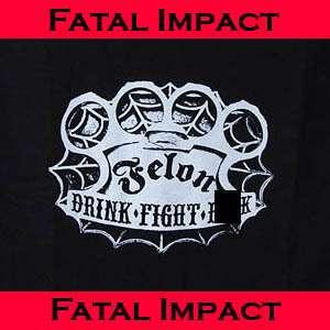 New Rockabilly Punk Felon Lucky 13 Brass Knuckle Duster Mens Black T