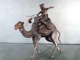 Bronze Arabian Knight On Camel Sculpture Figurine Art
