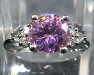 Fashion Jewelry Gift Pink Sapphire Fine Topaz Stone White Gold GP Ring