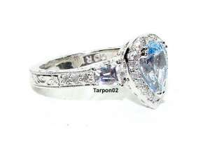 Tacori Diamonique Epiphany Blue Pear 2.30ct.  Ring 8 NEW