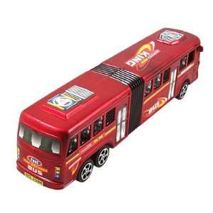Red Plastic 6 Wheels Two Door Design City Bus Toy: Toys & Games