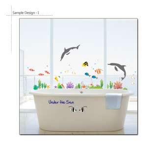 DOLPHIN & FISH * Bathroom Decor Vinyl Art Decal Sticker