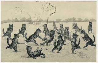 , Louis Wain ?, Cats Playing Field Hockey, comic old postcard
