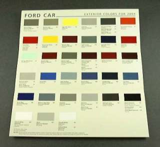 2004 04 FORD Color PAINT Chips CHART Thunderbird Taurus