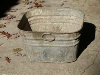 Old Antique Galvanized Wash Tub Large 20x20 Metal Washtub Garden