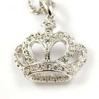 Gold GP Swarovski Crystal Crown Pendant Necklace J509