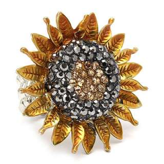 Sunflower Crystal Stretch Adjustable Fashion Ring Gold Yellow