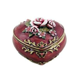 Rose Heart Shaped Trinket Jewelry Box Burgundy Red 3 Inches NEW
