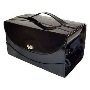 PuchiBag Train Case Black Patent Pet Carrier Airline Approved Dogs