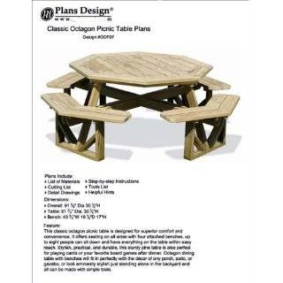 Classic Large Octagon Picnic Table / Bench Woodworking Project Plans