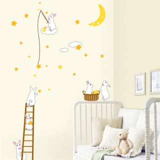 Rabbit Moon Star Kids Room Wall Stickers Home Decals