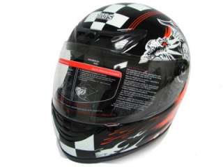 FULL FACE MOTORCYCLE STREET HELMET BLACK RACE MONSTER~L