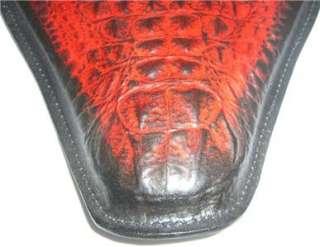 Alligator Embossed Leather Chopper Bobber Harley Spring Solo Seat