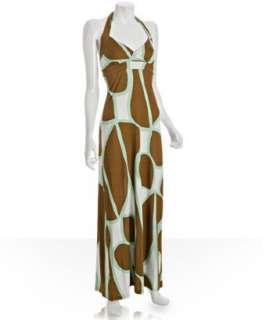 Diane Von Furstenberg light brown printed silk jersey Jocelyn halter