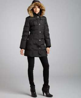 London Fog black quilted faux fur hooded down coat