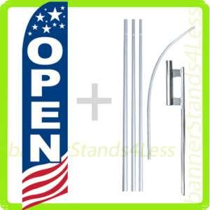 Feather Flutter Tall Banner Sign Flag KIT OPEN b(Stars Stripes USA