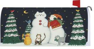 Christmas Winter Snow Cats Magnetic Mailbox Cover Wrap