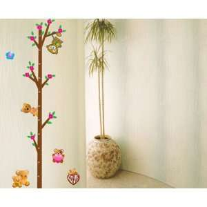 Cute Tree Teddy Bears Height Measurement (Measures up to 115cm) Wall