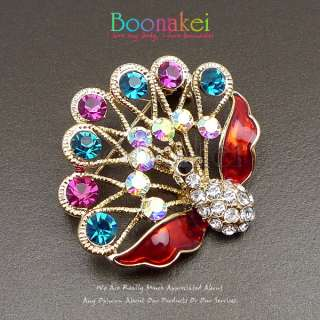 Cute Peacock w Teal Pink Swarovski Crystal Brooch Pin J039
