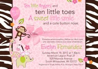 Personalized PINK Jungle Safari Baby Shower Invitation
