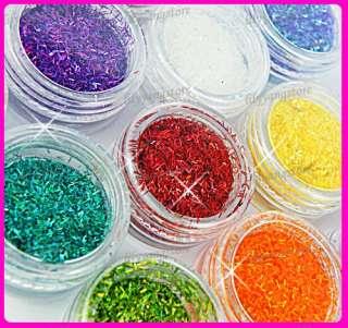 12 Color Short Glitter Strip Lace Nail Art Design Set
