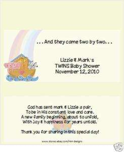 TWINS NOAHS ARK candy bar wrappers BABY SHOWER FAVOR