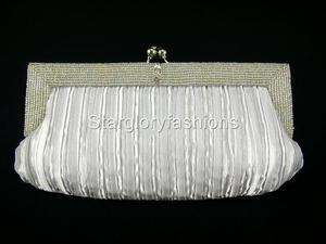 Beaded Wedding Evening Purse Clutch Handbag Bag, Silver