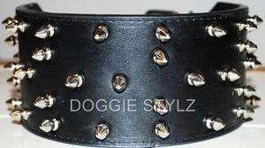 Black Leather Dog Collar Spike 21 25 Pitbull USA