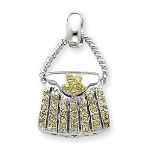 Sterling Silver Yellow CZ Purse Pendant QC4232 Jewelry