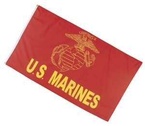 USMC Marine Corps Flag w Eagle Globe and Anchor EGA Scarlet and Gold 3